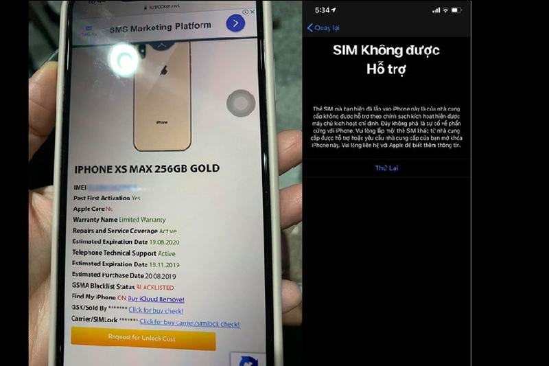 Mua iPhone XS Max quoc te, dung 1 thang thanh may lock tai VN