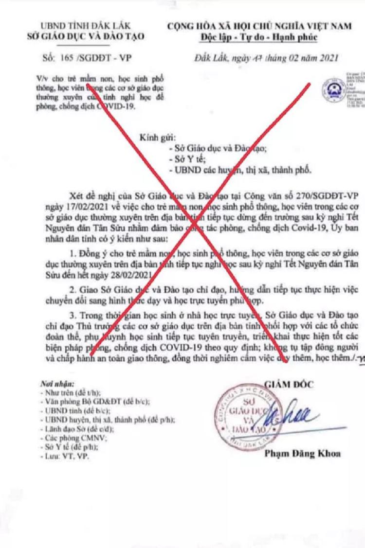 Dieu tra viec gia mao van ban So GD-DT Dak Lak cho hoc sinh nghi hoc
