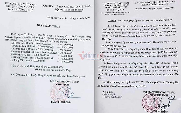 Huyen Thanh Chuong bao cao tien Thuy Tien lam tu thien it hon xac nhan nam 2020