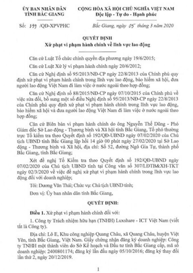 Cong ty Luxshase - ICT dua gan 677 nguoi Trung Quoc vao Viet Nam lao dong trai phep