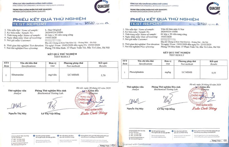 TPCN tang can G-Star, giam can L-Star bi to chua chat cam Sibutramine: Cty Health Star noi gi?