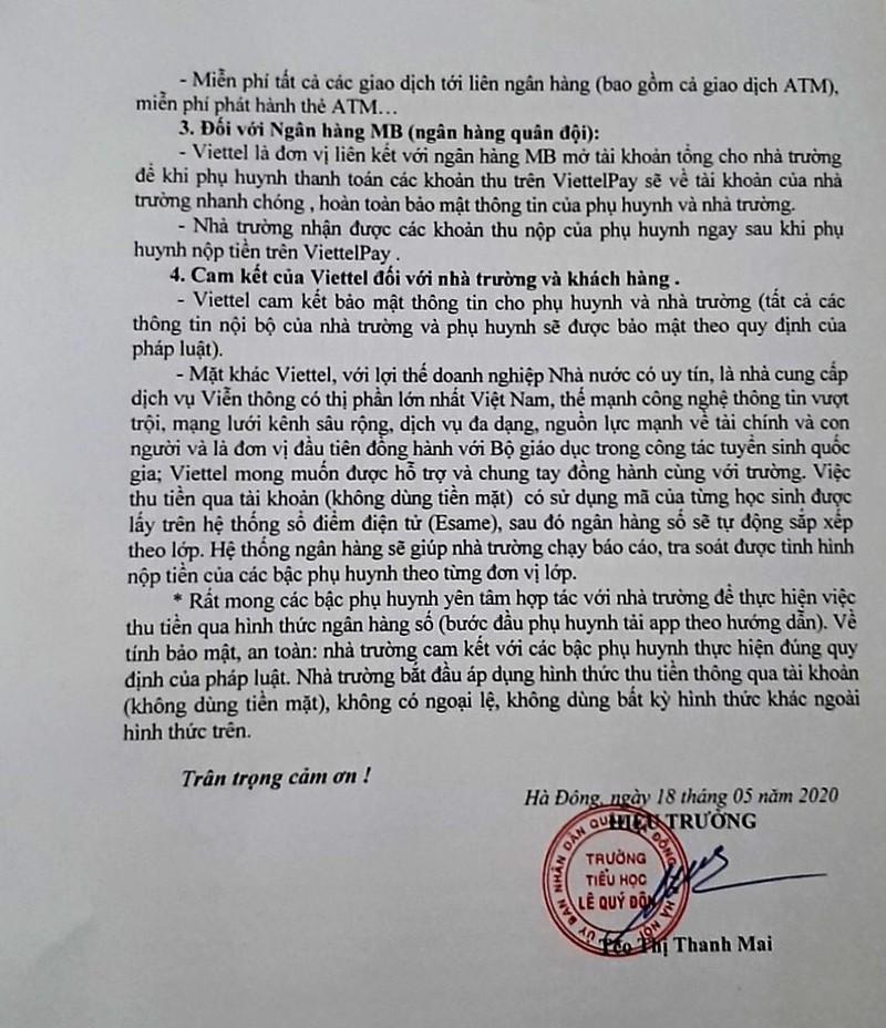 """Truong tieu hoc Le Quy Don """"ep"""" dong hoc phi qua Viettel Pay: Phu huynh buc xuc-Hinh-3"""