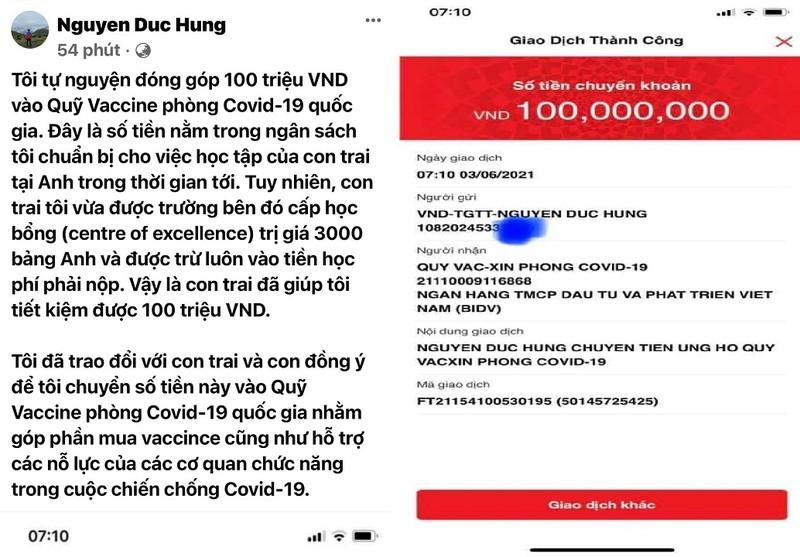 Con trai duoc hoc bong, bo chuyen 100 trieu vao Quy Vaccine