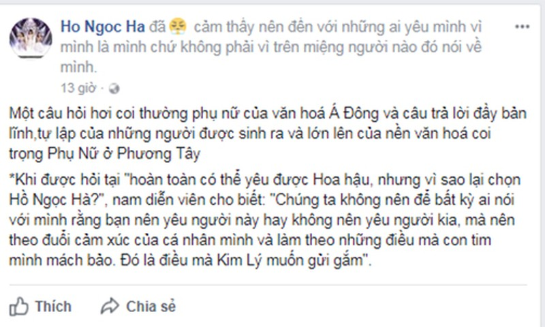 Sau khi cong khai yeu, cau noi cua Kim Ly khien Ha Ho tan chay-Hinh-2