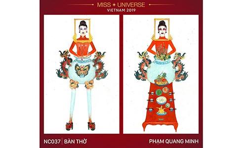 """Thiet ke trang phuc """"Ban tho"""" thi Miss Universe: Sang tao hay dien ro?"""