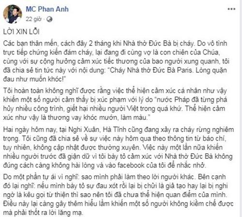 Vu chay rung o Ha Tinh: Vi sao MC Phan Anh phai xin loi?