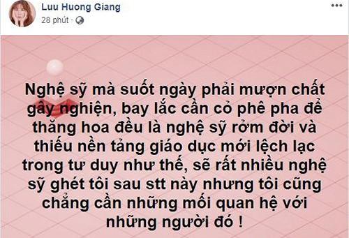 Luu Huong Giang len an nghe si muon chat gay nghien de thang hoa