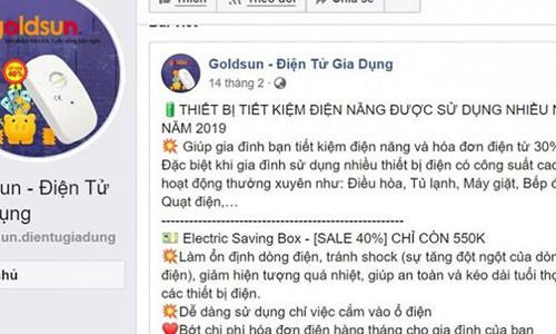 Quang cao sai su that ve thiet bi tiet kiem dien mua dich COVID-19