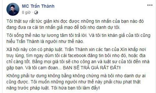 Tran Thanh nho phap luat vao cuoc khi bi tung tin