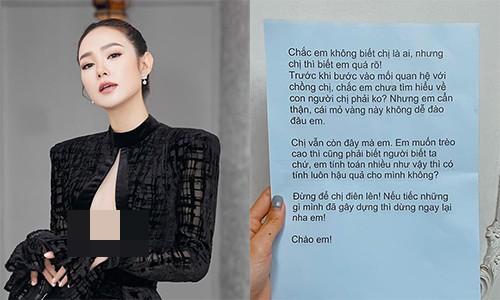 Minh Hang len tieng khi nhan duoc thu nac danh to giat chong