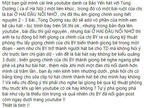 Danh ca Bao Yen buc xuc vi bi Tung Duong choi xau sau lung?-Hinh-2