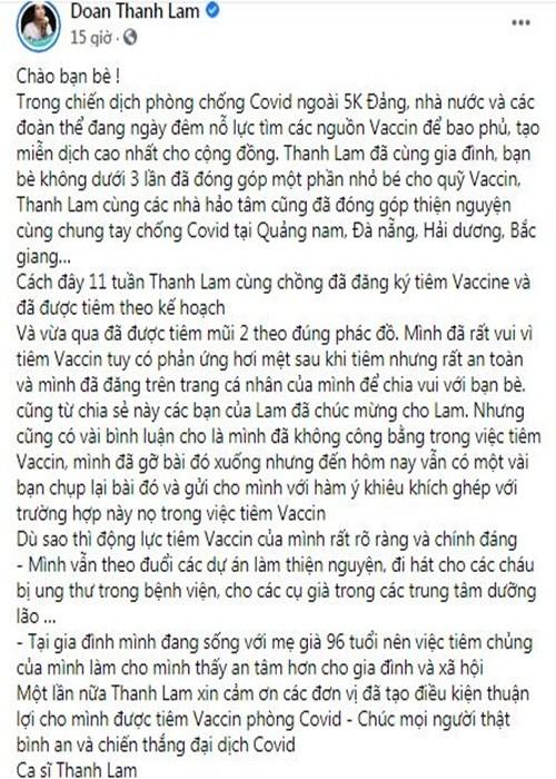 Thanh Lam len tieng ve on ao da tiem 2 mui vac xin COVID-19