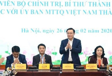 Bi thu Thanh uy Vuong Dinh Hue lam viec voi UBMTTQVN TP Ha Noi