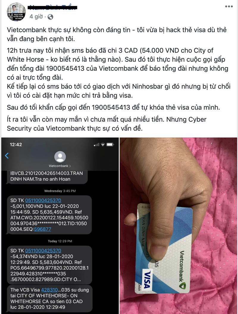 Khach hang to Vietcombank dinh loi bao mat: Vietcombank canh bao gi?