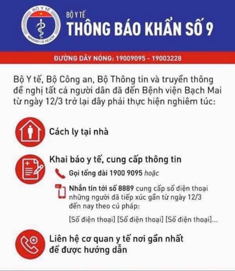 Thong bao khan tu 3 Bo Y te, Cong An, TT&TT ve nguoi dan da den BV Bach Mai