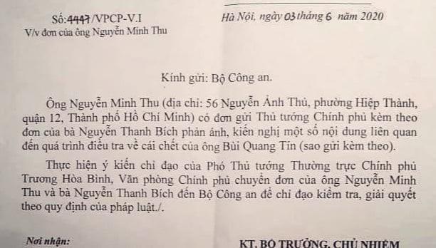 Pho thu tuong yeu cau Bo Cong an giai quyet don vu Bui Quang Tin