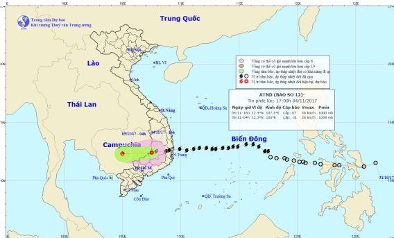 Di qua Nam Tay Nguyen, bao so 12 suy yeu thanh ap thap nhiet doi