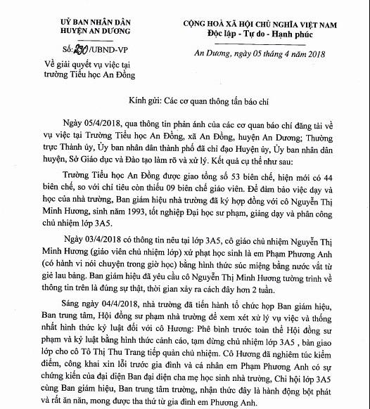 Thong tin chinh thuc vu nu giao vien ep hoc sinh suc mieng nuoc gie lau-Hinh-2