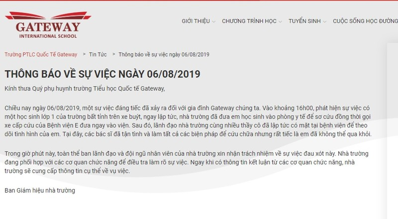 "Hoc sinh lop 1 truong Gateway tu vong: Nha truong nhan trach nhiem nhung van ""lap liem"" nguyen nhan?"