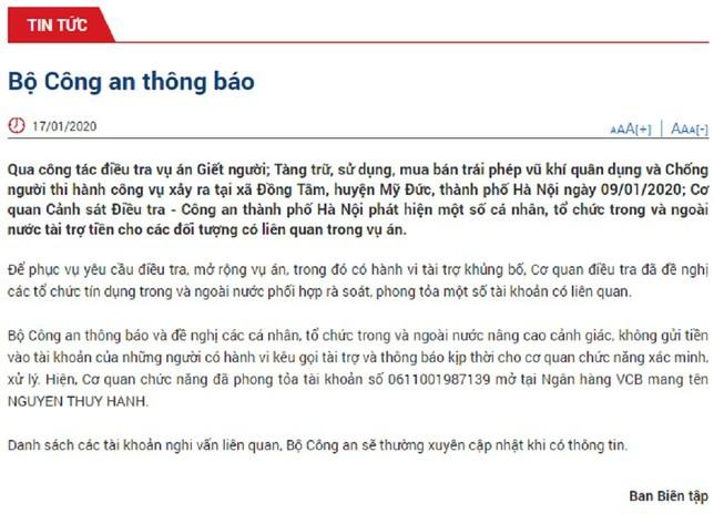 Bo Cong an thong tin viec phong toa tai khoan nghi van lien quan vu Dong Tam