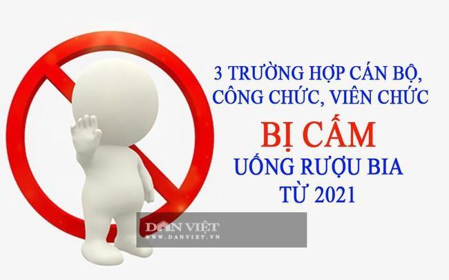 Tu thang 1/2021: Cong chuc, vien chuc khong duoc uong ruou bia trong truong hop nao?