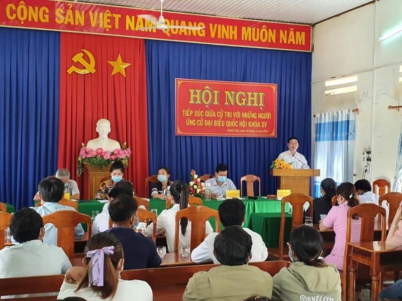 Chu tich VUSTA Phan Xuan Dung, cac ung vien DBQH tiep xuc cu tri 4 xa Phuoc Tien, Phuoc Tan, Phuoc Hoa, Phuoc Binh-Hinh-3