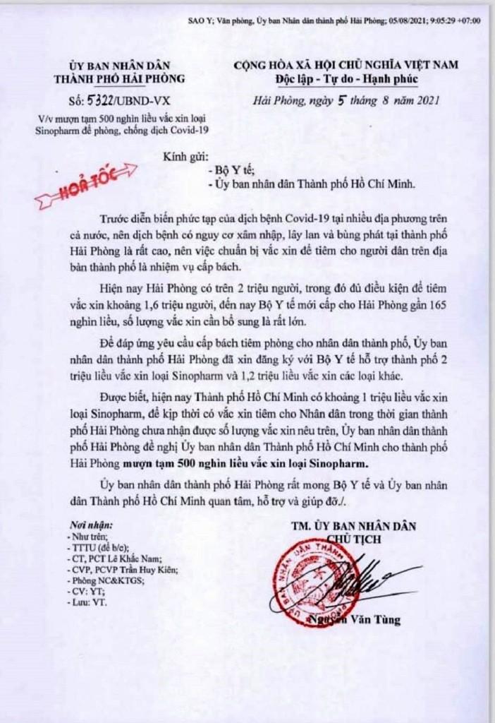 Hai Phong muon TP HCM 500.000 lieu vac xin Sinopharm-Hinh-2
