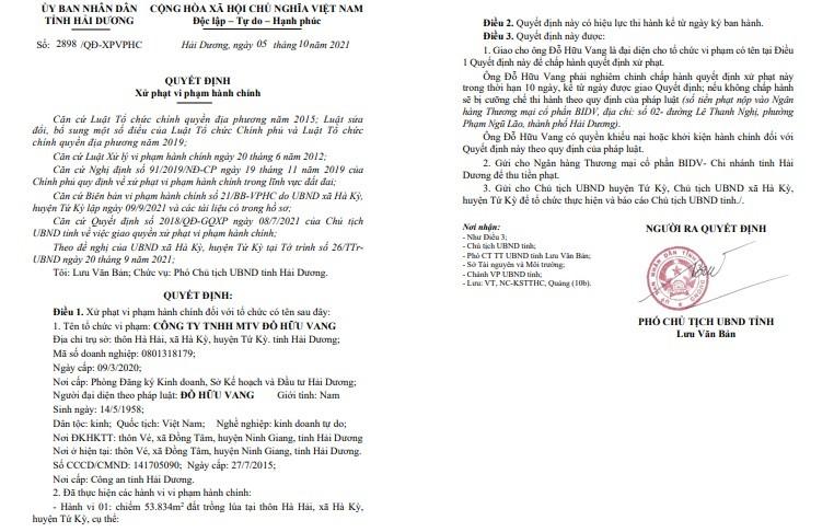 Chuyen la, 1 du an, Cty Huu Vang bi 3 cap chinh quyen Hai Duong xu phat-Hinh-2