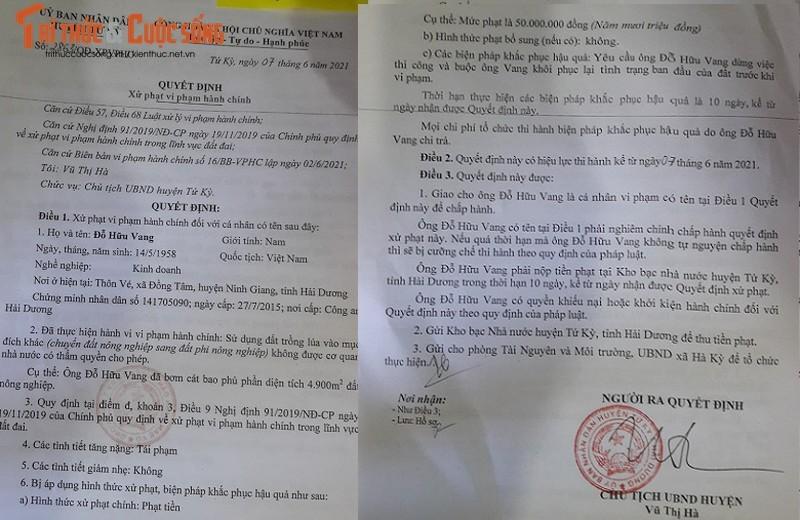 Chuyen la, 1 du an, Cty Huu Vang bi 3 cap chinh quyen Hai Duong xu phat-Hinh-3