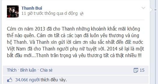 Sau dam cuoi khung, Thanh Bui khen vo tuyet voi