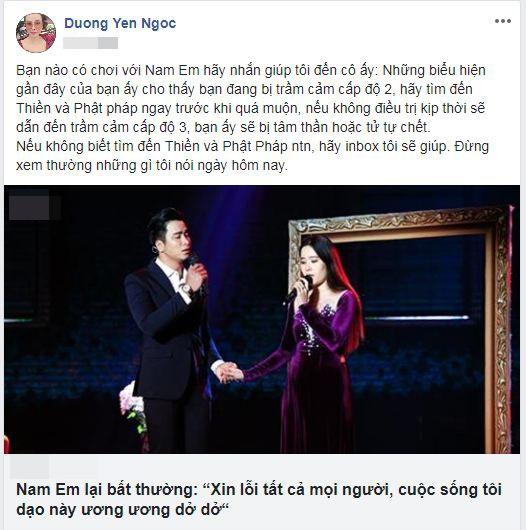 "Duong Yen Ngoc: ""Nam Em bi tram cam, khong dieu tri se tam than""-Hinh-2"