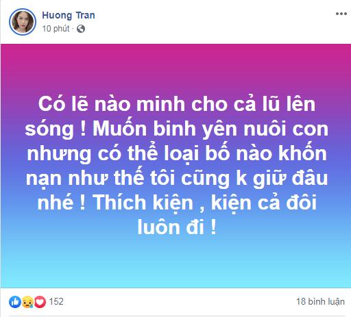 """Huong Tran bat ngo to chong cu Viet Anh la loai """"bo khon nan"""""""