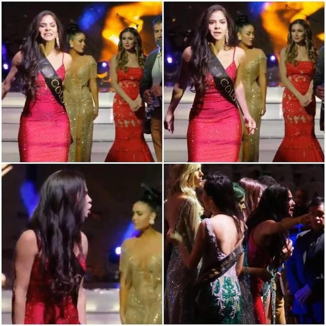 Thi sinh lon tieng mang BTC Miss Global ngay tren san khau