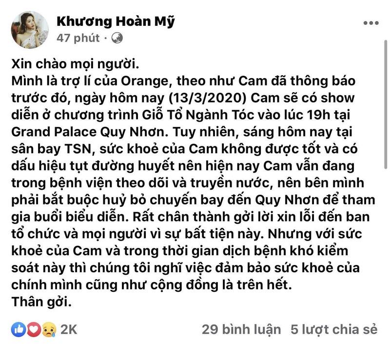 Ca si Orange nhap vien khan cap, phai huy show-Hinh-2