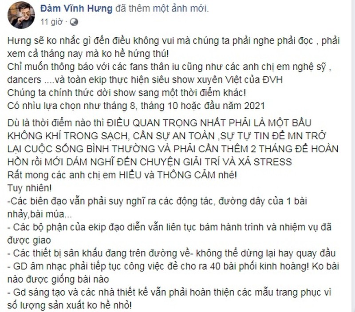 Dam Vinh Hung tuyen bo hoan show xuyen Viet vi dich Covid-19