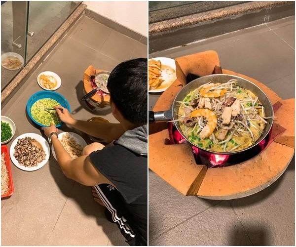 Le Phuong khoe chong dam, kheo cham con con biet lam banh xeo cho vo-Hinh-2