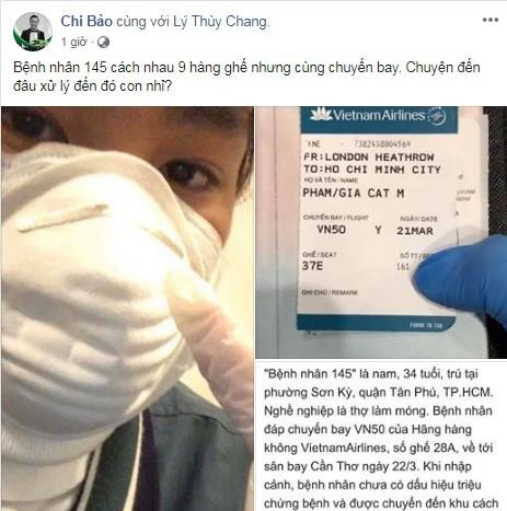 Con trai Chi Bao di chung chuyen bay voi benh nhan thu 145 nhiem Covid-19