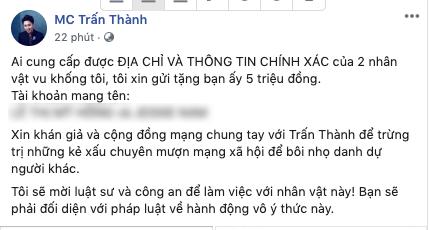 Vi sao Tran Thanh chi treo thuong 5 trieu de tim ke vu khong?