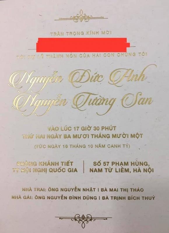 Lo thiep cuoi cua A hau Tuong San, ro ten chu re
