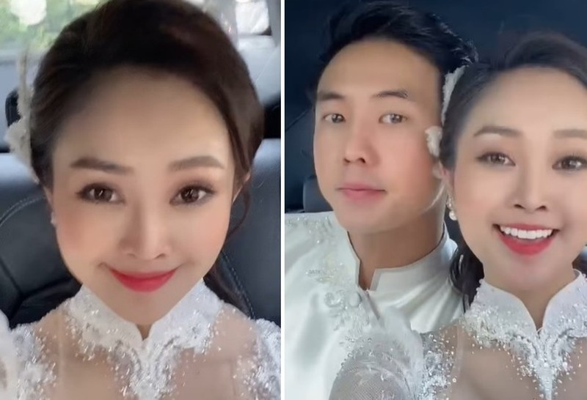 MC Thuy Linh xinh dep trong le an hoi voi dien vien Hieu Su