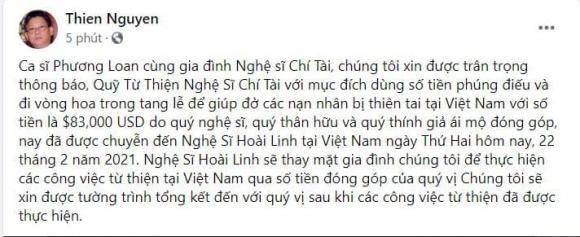 Gia dinh Chi Tai chuyen gan 2 ty cho Hoai Linh lam tu thien