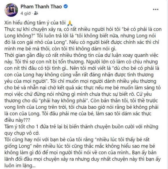 Pham Thanh Thao dinh chinh phat ngon lien quan con gai Van Quang Long
