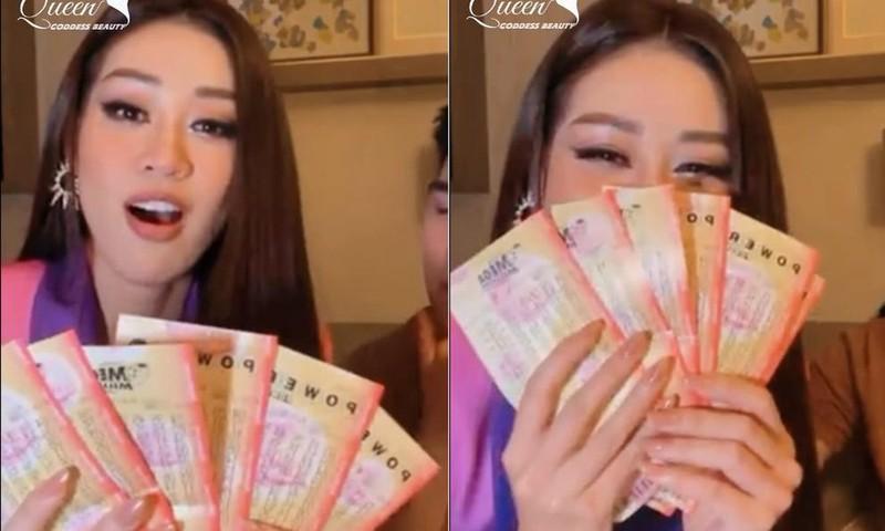 Di thi Miss Universe, Khanh Van mua ve so mong trung 360 trieu USD