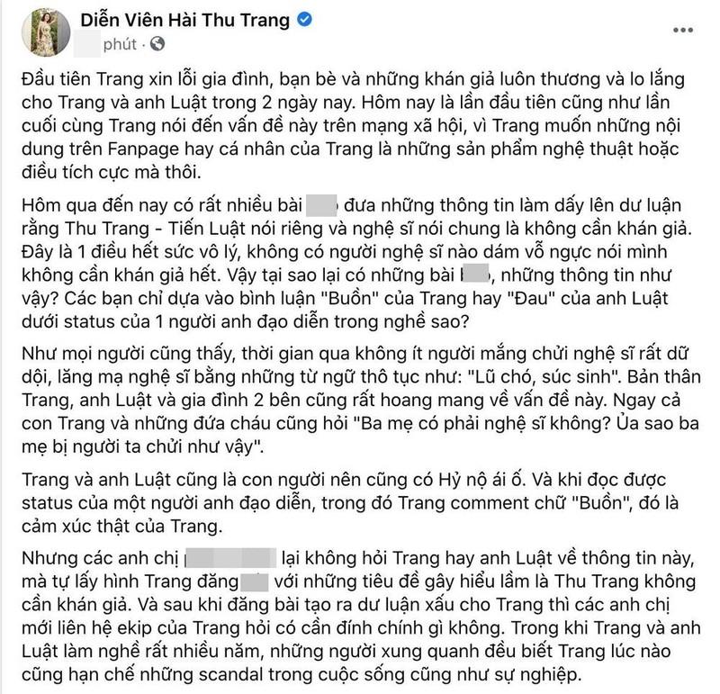 Thu Trang buc xuc khi bi xuyen tac