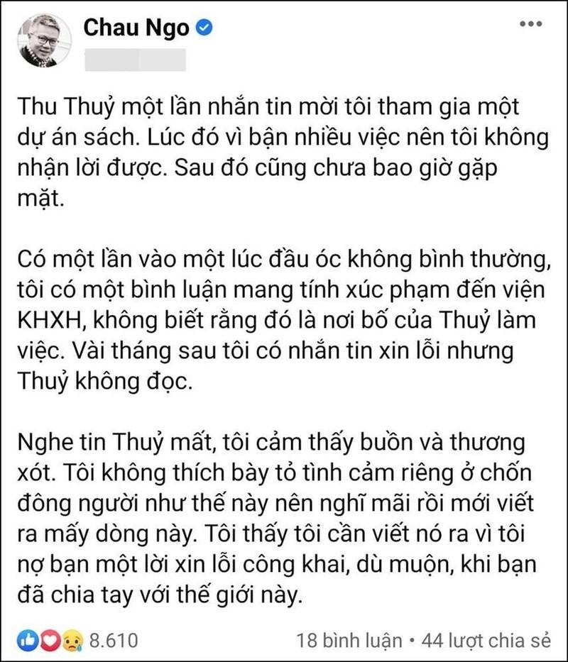 GS Ngo Bao Chau gui loi xin loi muon mang toi Hoa hau Thu Thuy-Hinh-3
