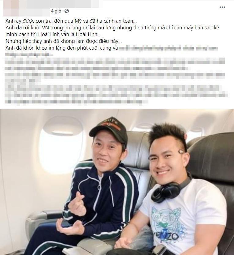 Con trai Hoai Linh dap tra, ngam phu nhan don bo ve My