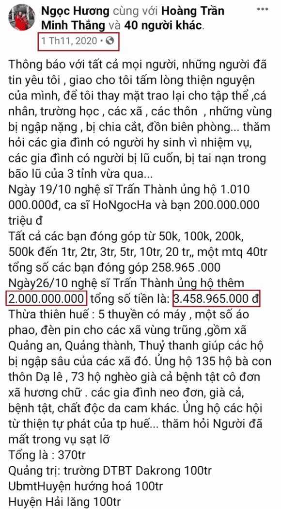Me Ho Ngoc Ha bi soi diem bat thuong tien quyen gop tu thien-Hinh-2