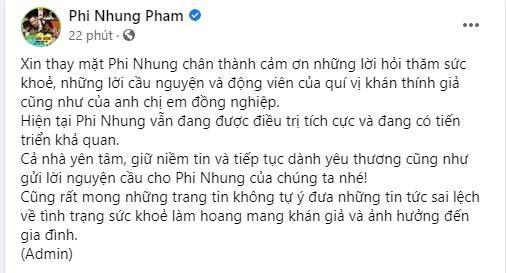 Dai dien Phi Nhung thong bao nu ca si dang tien trien kha quan