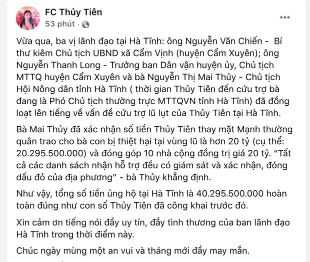 Ha Tinh xac minh nhan hon 40 ty cuu tro tu Thuy Tien