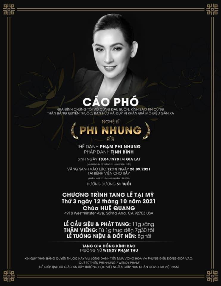 Thong tin tang le ca si Phi Nhung tai My